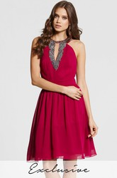 A-Line Mini Scoop Neck Sleeveless Beaded Chiffon Bridesmaid Dress