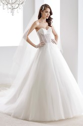 Sweetheart A-line Beaded Wedding Gown with Open Back and Corset Bodice