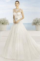Ball-Gown High Neck Long Sleeveless Appliqued Lace&Tulle Wedding Dress With Waist Jewellery And Illusion Back