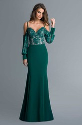 Sheath Spaghetti Long Sleeve Jersey Lace Backless Dress With Appliques