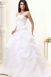 Strapless A-Line Organza Wedding Gown With Ruffles and Beading