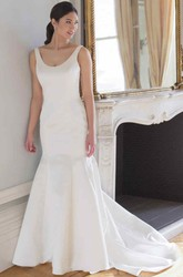 Sleeveless V-Neck Satin Wedding Dress With Illusion