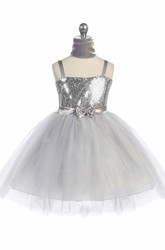 Cape Midi Beaded Tiered Tulle&Sequins Flower Girl Dress With Ribbon