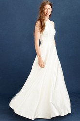 A-Line Long Scoop-Neck Sleeveless Satin Wedding Dress