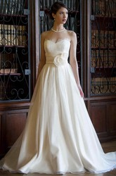 A-Line Sweetheart Floor-Length Tulle&Satin Wedding Dress With Flower