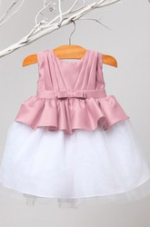 Peplum Knee-Length Pleated Tiered Tulle&Satin Flower Girl Dress With Sash