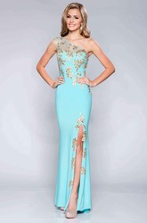One-Shoulder Side Slit Jersey Column Prom Dress With Beaded Appliques