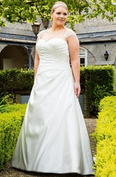 Beaded Cap Sleeve Taffeta Bridal Gown With Lace Up And Keyhole
