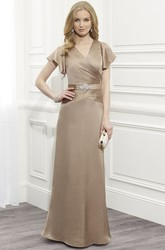 Cap Sleeve V-Neck Jeweled Satin Mother Of The Bride Dress