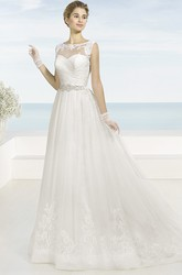 A-Line Bateau Sleeveless Floor-Length Appliqued Tulle Wedding Dress With Criss Cross And Waist Jewellery