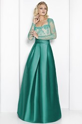 A-Line Long-Sleeve Square-Neck Long Satin&Lace Prom Dress
