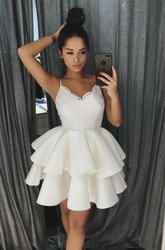 Peplum Ruffled Mini Skirt Lace Sexy Spaghetti Homecoming Dress