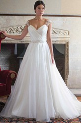Ball Gown Floor-Length V-Neck Ruched Cap-Sleeve Wedding Dress With Appliques