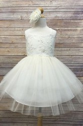 Knee-Length Spaghetti Beaded Tiered Tulle&Sequins Flower Girl Dress