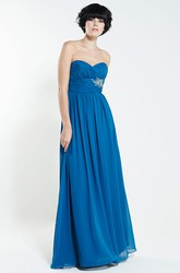 Floor-Length Sweetheart Ruched Sleeveless Chiffon Bridesmaid Dress With Broach