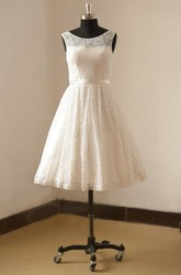 Bateau Neck Sleeveless Tea-Length Lace Wedding Dress With Satin Sash