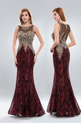 Mermaid Long Bateau Sleeveless Illusion Dress With Beading And Sequins