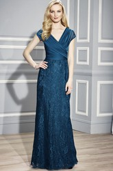 Sheath Floor-Length Appliqued V-Neck Lace Formal Dress With Low-V Back And Ruching
