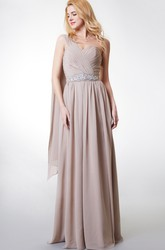 One-shoulder A-line Long Chiffon Bridesmaid Dress With Pleats