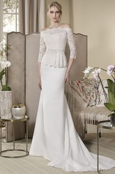Sheath Off-The-Shoulder Half-Sleeve Peplum Long Jersey&Lace Wedding Dress With Waist Jewellery And Embroidery