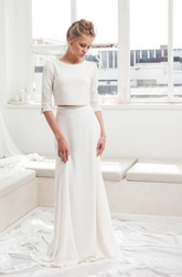 Graceful Jewel Neck Two Piece Half Sleeve Bridal Gown