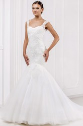 Mermaid Strapless Floor-Length Appliqued Sleeveless Tulle&Lace Wedding Dress With Illusion Back And Court Train