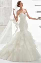 Sweetheart Mermaid Lace Wedding Dress With Ruffled Tiers Train And Brush Train