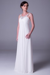 Sheath Empire Sleeveless Beaded Floor-Length Scoop-Neck Chiffon Wedding Dress With Ruching