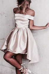 A-line Short Mini High-low Sleeveless Off-the-shoulder Ruching Satin Homecoming Dress