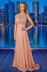 A-Line Beaded Maxi Scoop-Neck Cap-Sleeve Chiffon Prom Dress With Pleats
