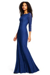 Sheath 3-4 Sleeve Bateau Neck Lace Bridesmaid Dress With Low-V Back