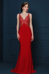 Sheath V-Neck Beaded Sleeveless Long Jersey Evening Dress