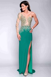 One-Shoulder Column Jersey Prom Dress With Sequined Bodice And Side Slit