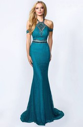 Sheath Halter Sleeveless Lace Backless Dress With Beading