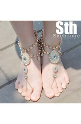 Western Style Beach Wedding Retro Ethnic Style Exaggerated Drip Diamonds Anklet