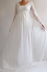 A-Line Sweep Brush Train Long Sleeve Empire Maternity Wedding Dress