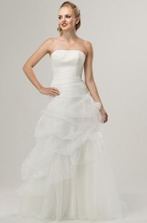 A-Line Strapless Appliqued Sleeveless Long Tulle&Lace Wedding Dress With Pick Up And Flower