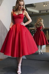 Adorable 1950 Tea-length Sweetheart Dress With Straps And Ruching