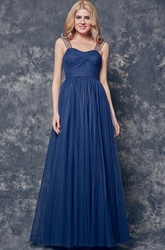 A-line Ruched Long Tulle Dress With Illusion Sleeve