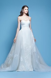 Embroidered Strapless Tulle&Satin Wedding Dress With Criss Cross