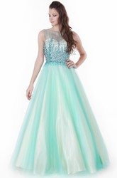 A-Line Floor-Length Beaded Jewel-Neck Sleeveless Tulle&Satin Prom Dress