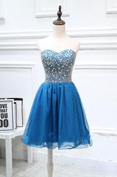 Mini Strapless Chiffon Dress With Beading