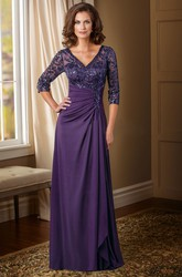 3-4 Sleeved V-Neck Mother Of The Bride Dress With Sequins And V-Back