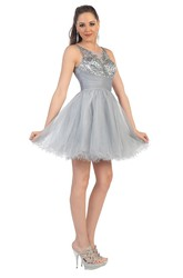 A-Line Mini Bateau Sleeveless Tulle Illusion Dress With Ruffles And Beading
