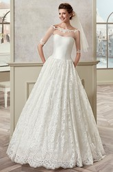 Half-Sleeve A-Line Bridal Gown With Off Shoulder And Illusive Design
