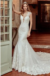 Cap-Sleeve Sheath Lace Wedding Dress With Brush Train and Open Back