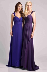 Chiffon A-Line Bridesmaid Dress With Crisscross Bust And Side Draping