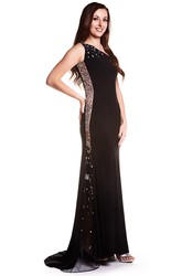 Long V-Neck Beaded Jersey Prom Dress With Sweep Train