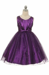 V-Neck Tea-Length Pleated Tulle&Sequins Flower Girl Dress With Tiers