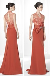 Sheath V-Neck Bowed Floor-Length Sleeveless Jersey&Lace Prom Dress With Appliques